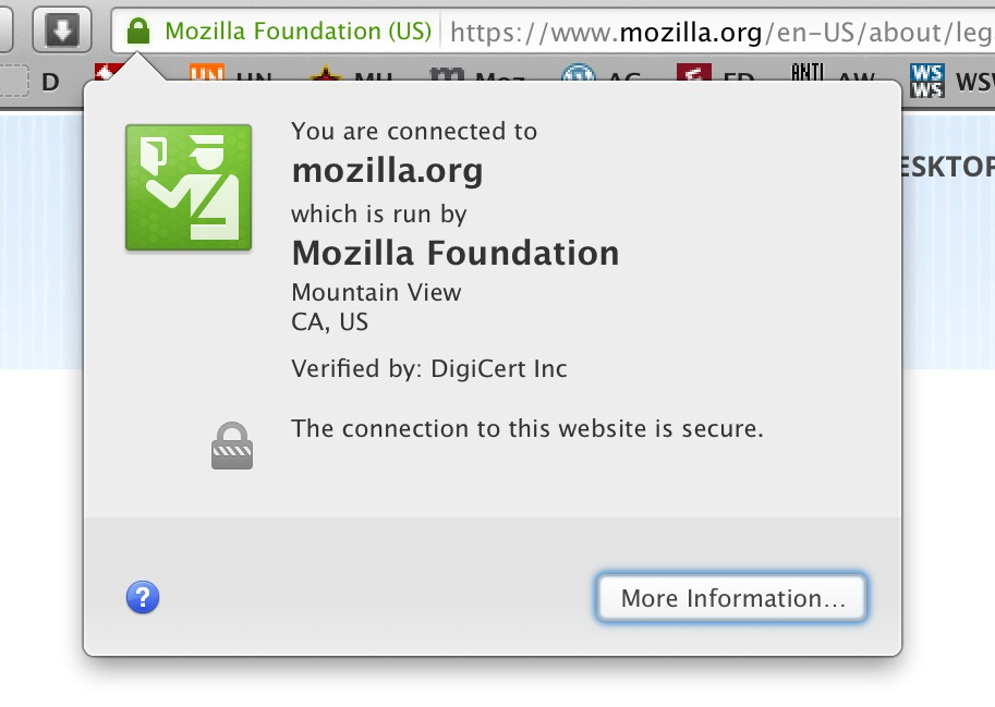 "Figure 1. Firefox believes that ""The connection to this website is secure."" Unfortunately, so do most users."