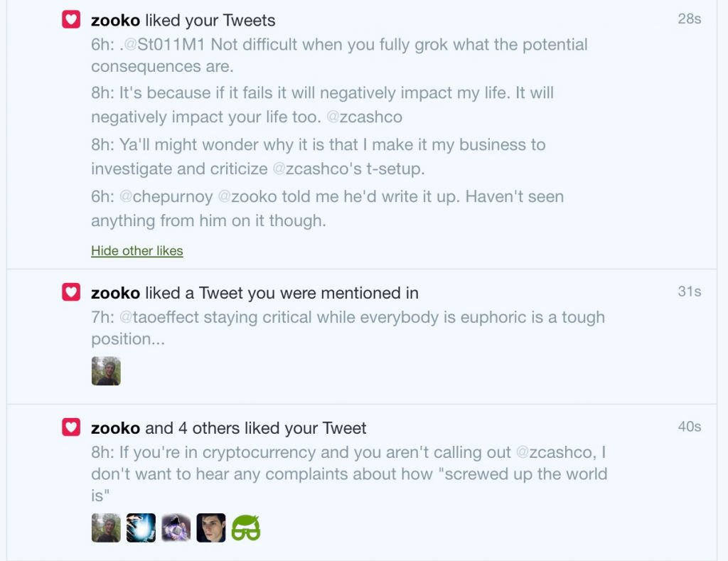 Shows Zooko liking a bunch of my tweets where I'm saying pretty much the same stuff.